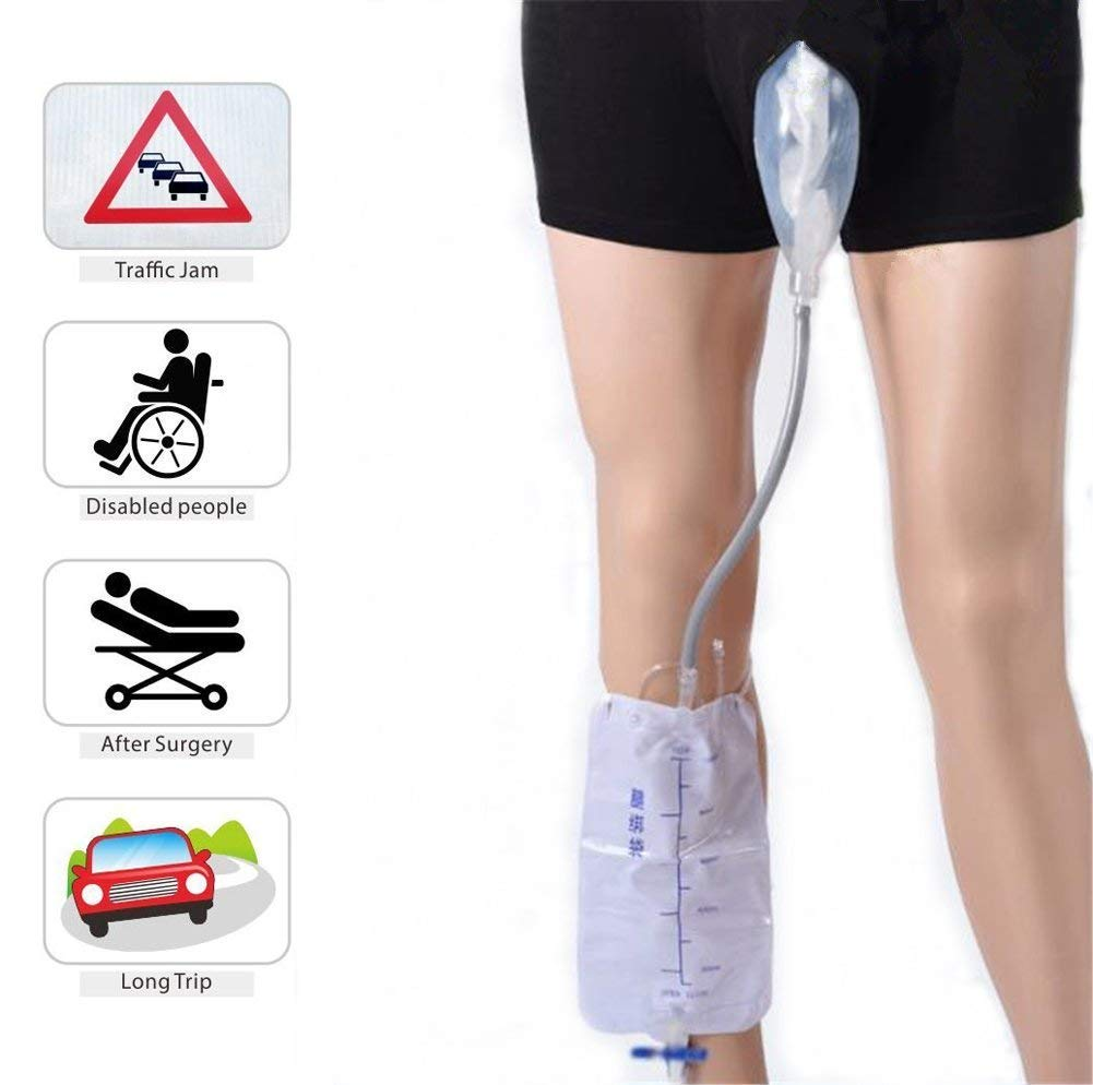 Male Incontinence Underpants,Fencia Reusable Portable Underpants Comfort Breathable Urinal System with Collection Urine Bag for Elderly, After Surgery, Disabled Men (L)