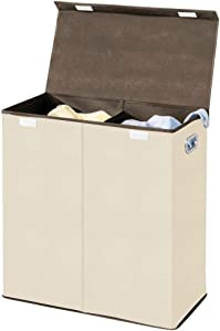 mDesign Extra Large Divided Laundry Hamper Basket with Removable Lid, Built-in Handles - Portable and Foldable for Compact Storage - Chrome Handles - Cream/Espresso Brown