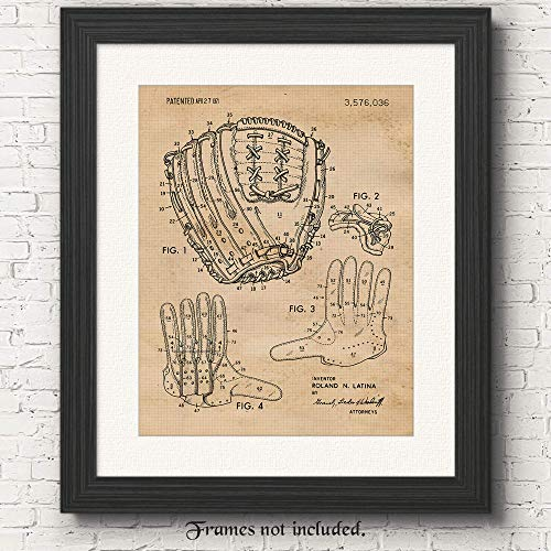 Vintage Baseball Glove Patent Poster Prints, Set of 1 (11x14) Unframed Photo, Wall Art Decor Gifts Under 15 for Home, Office, Garage, College, Man Cave, Student, Coach, Teacher, Sports & MLB Fan