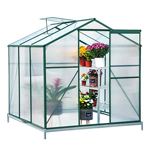 Erommy Walk-in Greenhouse Large Gardening Plant Hot House with Adjustable Roof Vent and Rain Gutters,UV Protection Planting House,6′(L) x 6′(W) x 6.6′(H)