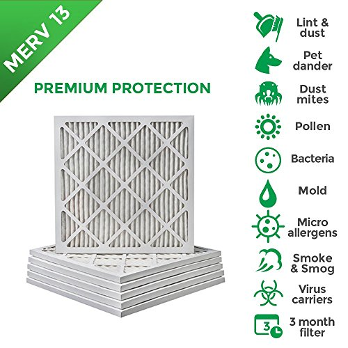 16x16x1 MERV 13 (MPR 2200) Pleated AC Furnace Air Filters. Box of 6 by Filters Delivered