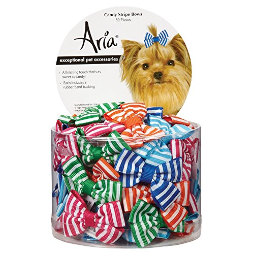 - Aria Candy Stripe Bows for Dogs, 50-Piece Canisters