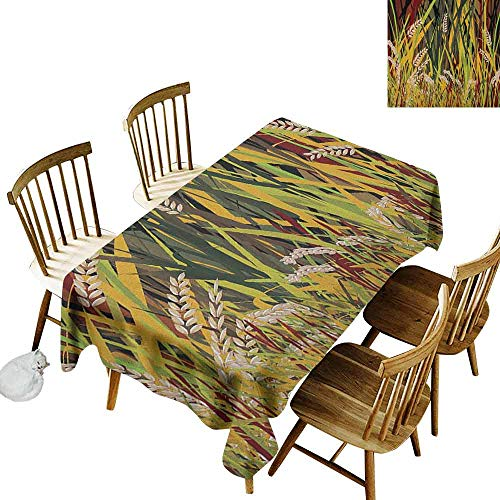 DONEECKL Nature Home Decoration Tablecloth Anti-Overflow Tablecloth Reeds Dried Leaves Wheat River Wild Plant Forest Farm Country Life Art Print Image Multicolor W60 xL120 ()
