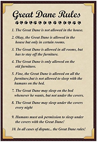 Great Dane House Rules Poster with Hanger