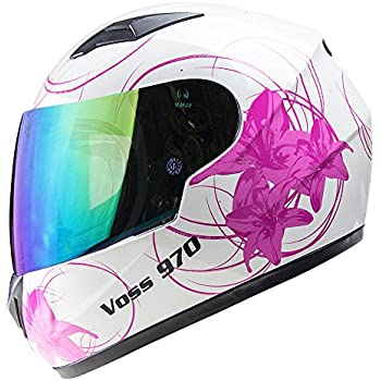 Voss 970Y Youth/Kids Full Face Helmet. Pink Lily with Iridium Face Shield. DOT - S - Gloss White Lily