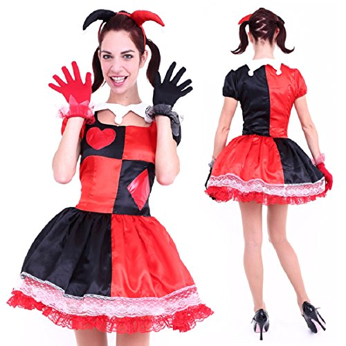 Evil Jester Costume For Women (Club Queen -- Red & Black Jester Costume -- XS to Small Size)