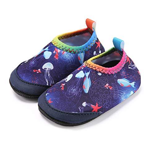 (Lauwodun Baby Girls Boys Water Shoes Barefoot Aqua Sock Infant Toddler Walking Shoes for Beach Pool Indoor Outdoor)