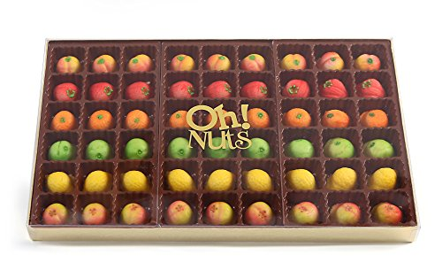 Oh! Nuts Fresh Gourmet Marzipan Candy Fruits Basket, 54 Piece Holiday Citrus Marzipans Elegant Variety Tray in a Gift Box, Unique Women & Men Assortment, Thanksgiving, Old-Fashioned Christmas Food ()