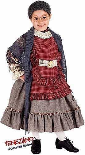 Italian Made Girls Super Deluxe Old Lady Grandma Halloween Carnival Fancy Dress Costume Outfit 3-10 Years (7 Years) ()