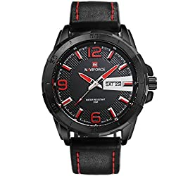 Neotrix NAVIFORCE Military Analog Leather Mens Watch, 30M Waterproof Sport Wrist Watch - Red