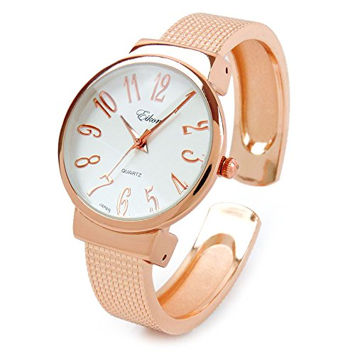 FTW Rose Gold Mesh Style Band Large Dial Easy to Read Women's Bangle Cuff Watch