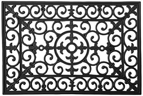 Black Fleur De Lis - Calloway Mills 900092436 Fleur De Lis Rubber Doormat, 24