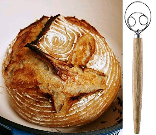 HauBee Kitchen Danish Dough Whisk Stainless Steel Sourdough Whisk Flour Bread Baking Cooking Tools Dutch Style Hand Mixer Blender Utensils Wisk Hook Pastry