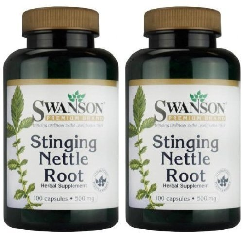 Swanson Premium Brand Stinging Nettle Root 500mg -- 2 Bottles each of 100 Capsules