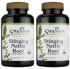 Swanson Premium Brand Stinging Nettle Root 500mg -- 2 Bottles each of 100 Capsules