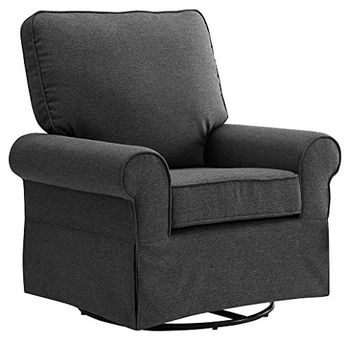 Angel Line Natalie Upholstered Swivel Glider, Dark Grey