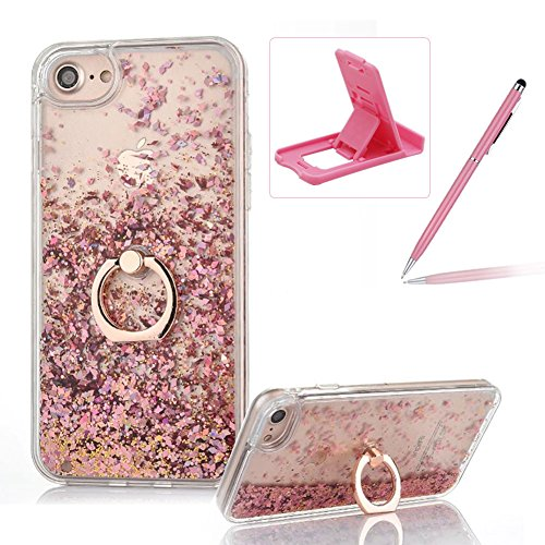 Hard Case for iPhone 6S Plus,Plastic Glitter Case for iPhone 6 Plus,Herzzer Luxury 3D Creative Design Rose Gold Liquid Quicksand Sparkly Crystal Clear Protective Skin Back Case with 360 Degree Ring Holder for iPhone 6 Plus/6S Plus 5.5 inch + 1 x Free Pink Cellphone Kickstand + 1 x Free Pink Stylus Pen