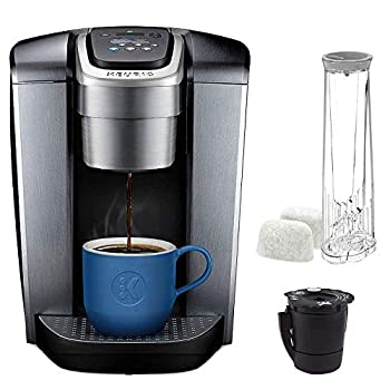 Image of Home Improvements Keurig C K-Elite Maker, Single Serve K-Cup Pod Brewer, with Iced Coffee Capability, Extra Included, 75oz, Brushed Silver Plus Filter Bundle