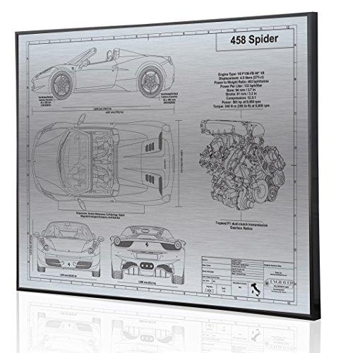 Ferrari 458 Italia Spider Blueprint Artwork-Laser Marked & Personalized-The Perfect Ferrari ()