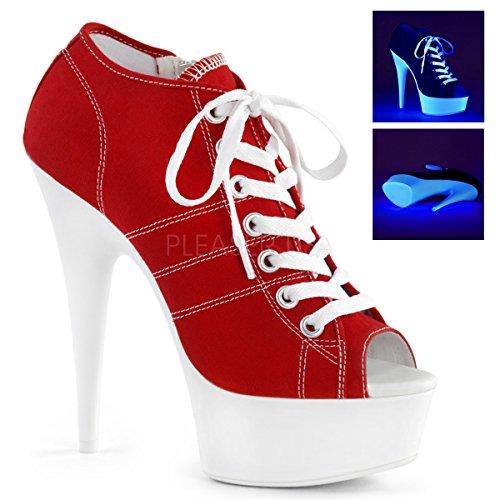 Pleaser Women's Delight-600SK-01 Sandal, Red Canvas/Neon White, 10 M US ()
