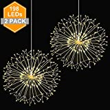 Wellerly Fairy String Lights, 2 Pack 8 Modes 198 LED Fireworks Starburst Dandelion Fairy Lights Battery Operated DIY Hanging Remote Control Waterproof Decorative Sliver Wire for Party - Warm White
