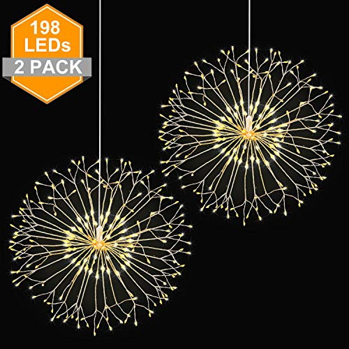 (Wellerly Fairy String Lights, 2 Pack 8 Modes 198 LED Fireworks Starburst Dandelion Fairy Lights Battery Operated DIY Hanging Remote Control Waterproof Decorative Sliver Wire for Party - Warm White)