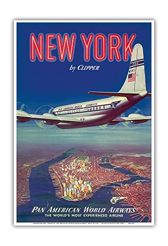 New York USA by Clipper - Boeing 377 Over Manhattan Island - Pan American World Airways - Vintage Airline Travel Poster c.1950 - Master Art Print - 13in x 19in ()