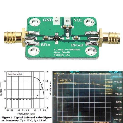 FidgetFidget Broadband Module Receiver 0.1-2000MHz RF Wideband Amplifier 30dB low-noise LNA
