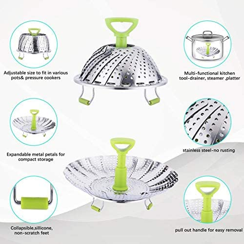 51Gu9Koe%2BtL. AC Steamer Basket, Kmeivol Vegetable Steamer Basket, Stainless Steel Vegetable Steamer, Steamer Pot with Extendable Handle for Steaming Food, 5-9 Inch Expandable Veggie Steamer to Fit Various Size Pot    Kmeivol Steamer basket: Steamer basket is made of high quality food grade material, it can steam variety of foods. Vegetable steamer basket is Ideal for steaming food without losing nutrient. Vegetable steamer collapseable design can expands and adjusts to various pots. Steamer pot not only can be used to steam food, but also can be used as a strainer or fruit container. Veggie steamer is a great cooking choice, makes us enjoy easier cooking at home.