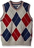 IZOD Big Boys' Large Argyle Sweater Vest, Light Grey, Small