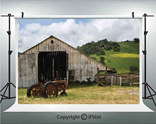 (Farm House Decor Photography Backdrops Old Wooden Barn with Rusted Tractor on Hillside Enclosed with Wooden Fence and Trees,Birthday Party Background Customized Microfiber Photo Studio Props,10x6.5ft,)