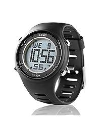 EZON Men's Digital Sport Watch Ultra Thin Outdoor Running Life Waterproof Watch Black L008A11 Black