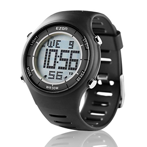 EZON Men's Digital Sport Watch Ultra Thin Outdoor Running Life Waterproof Watch Black (Running Watches For Men)