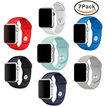 Apple Watch Bands, amBand Soft Silicone Replacement iWatch Strap Sport Wristband for Apple Watch Series 1, Series 2, Sport, Edition, 6 Colors, (6Pack)