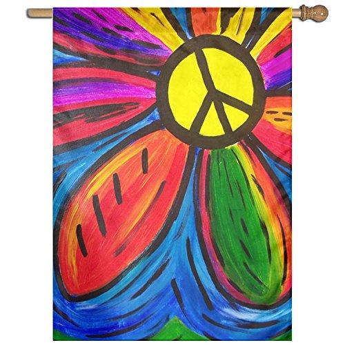QIZHI World Peace Bright Yard House Garden Flags Springtime