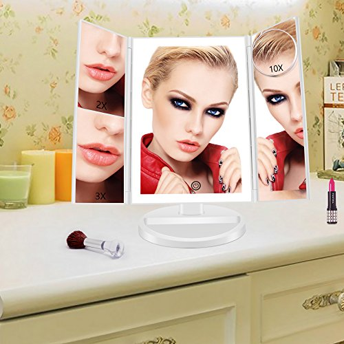 Lighted-Makeup-Mirror-FASCINATE-Trifold-vanity-mirror-with-2X3X10X-Magnification-and-Natural-LED-Lighted-Bars-Touch-Screen-Dimming-180-Adjustable-Stand-Table-Countertop-Cosmetic-Mirror
