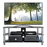 1home 120 cm GT5 Glass TV Stand for 32-70-Inch Plasma/LCD/LED/3D Television - Black
