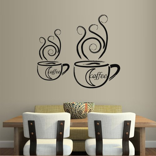 Wall Decal Decor Decals Art Coffee Cup Mug Cafe Morning Inscription Kitchen Lounge Design Mural (M963) (Designs Lounge Kitchen)