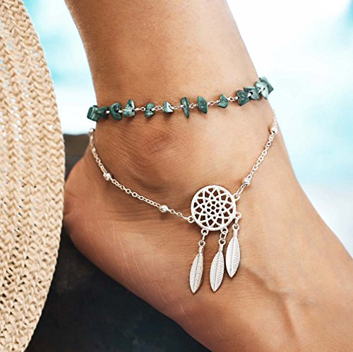 Leiothrix Dream Catcher Anklet Chain Jewelry Foot Bracelet with Turquoise for Beach Dance Party Casual (Pack of 1)