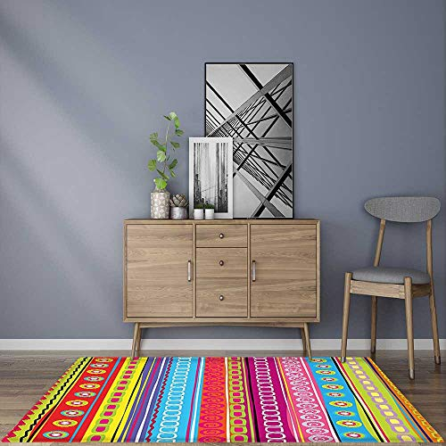 Home Décor Rug Retro Stripes Circles Boho Pattern 90s Style Ethnic Bright Rainbow Art Print Multicolor Non-Toxic Waterproof (Rug Stripe Circle)