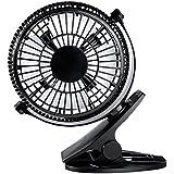 Clip On Fan, YKS 5 Inch Mini USB Table Desktop Stroller Personal Fan( 360 Degree Rotatation, 2200RPM speed, 2 speed choices)-Black
