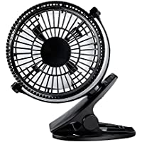 Clip On Fan, YKS 5 Inch Mini USB Table Desktop Stroller Personal Fan( 360 Degree Rotatation, 2200RPM speed, 2 speed choices)-Black