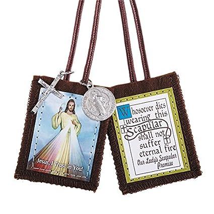Amazon.com  Divine Mercy Jesus Brown Scapular  Home   Kitchen 66d082ea8fccf