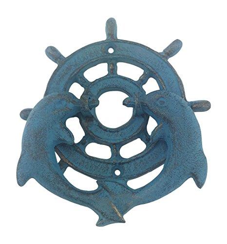 Cast Iron Door Knocker, Pair of Dolphins with Ships Wheel, Blue Verdigris Patina, 5.75