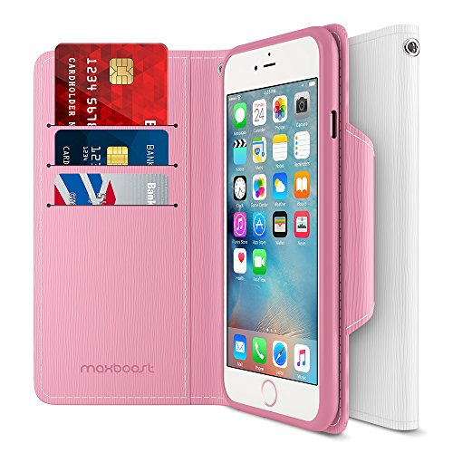 iPhone 6S 6 Wallet Case, Maxboost iPhone Wallet Case for iPhone 6S / 6 Protective PU Leather Card Case with Credit Card Slots + Side Pocket Flip Magnetic Stand Feature - Hot Pink/White