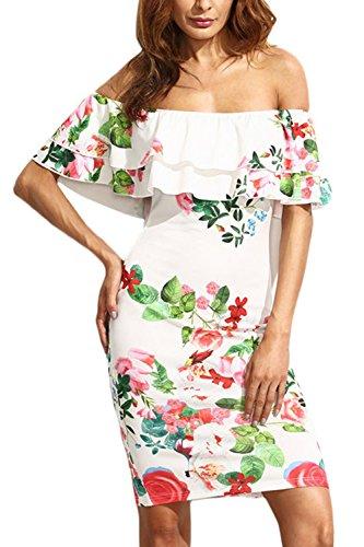 Manga corta de la mujer el vestido de lápiz Floral hombro 1259