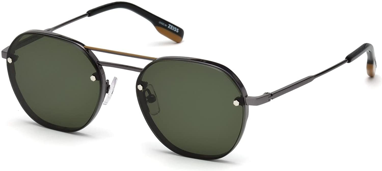 08810b54587f Amazon.com: Sunglasses Ermenegildo Zegna EZ 0105 08N shiny gumetal / green:  Clothing