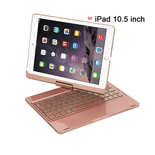 iPad Pro 10.5 Case with Keyboard,Genjia Rotating Wireless Bluetooth 4.0 Keyboard Case Cover with 7 Colors Backlight/Brething Light,Auto Sleep/Wake,Alum Alloy&ABS for Apple iPad Pro 10.5 (Rose Gold)