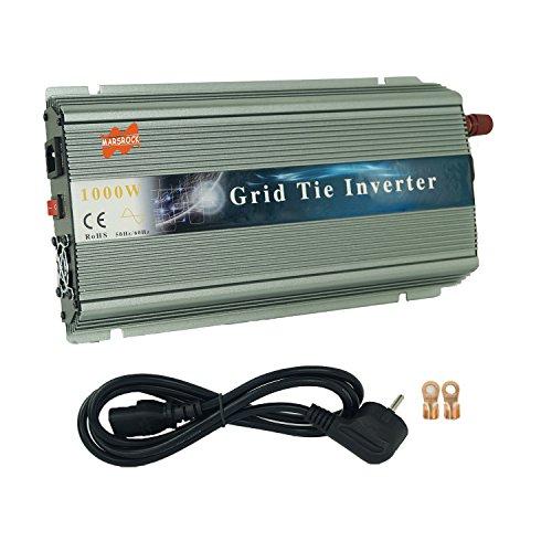 MarsRock 1000W 12V Wind 18V Grid Tie Pure Sine Wave MPPT Solar Power Inverter DC 10.5V-30V AC 110V 120V Workable for USA Selectable Blue Gold Silver Colors (110V Silver)