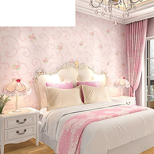 European-style rustic wall/ non-woven wallpaper/Bedroom romantic Pink wallpaper/ acanthus leaves wallpaper-A